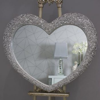 Diamante Heart Mirror 110 x 90