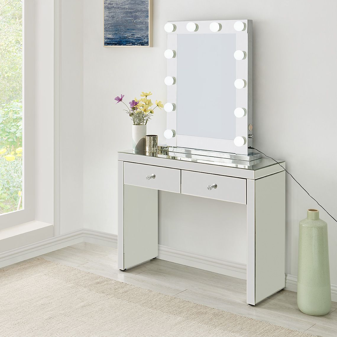 Hollywood Glass Dressing Table And Mirror Home Living Furniture Online