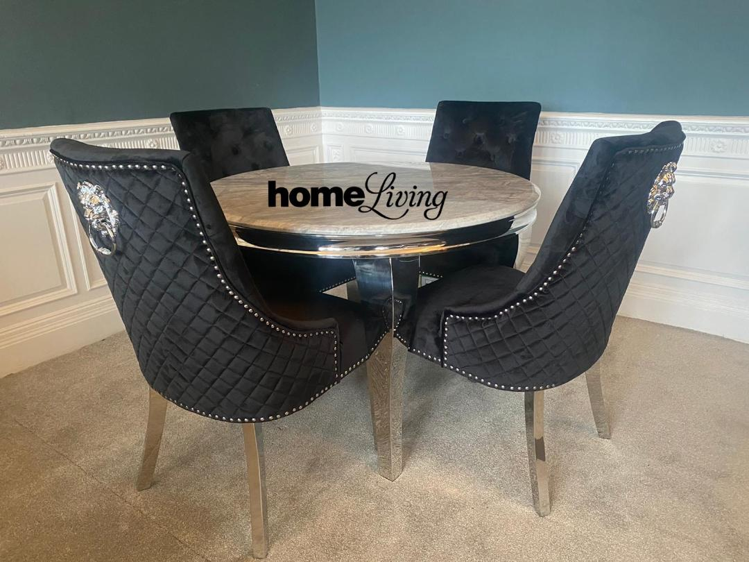 Round Marble Grey Louis Table With Black Lion Knocker Chairs Home Living Furniture Online