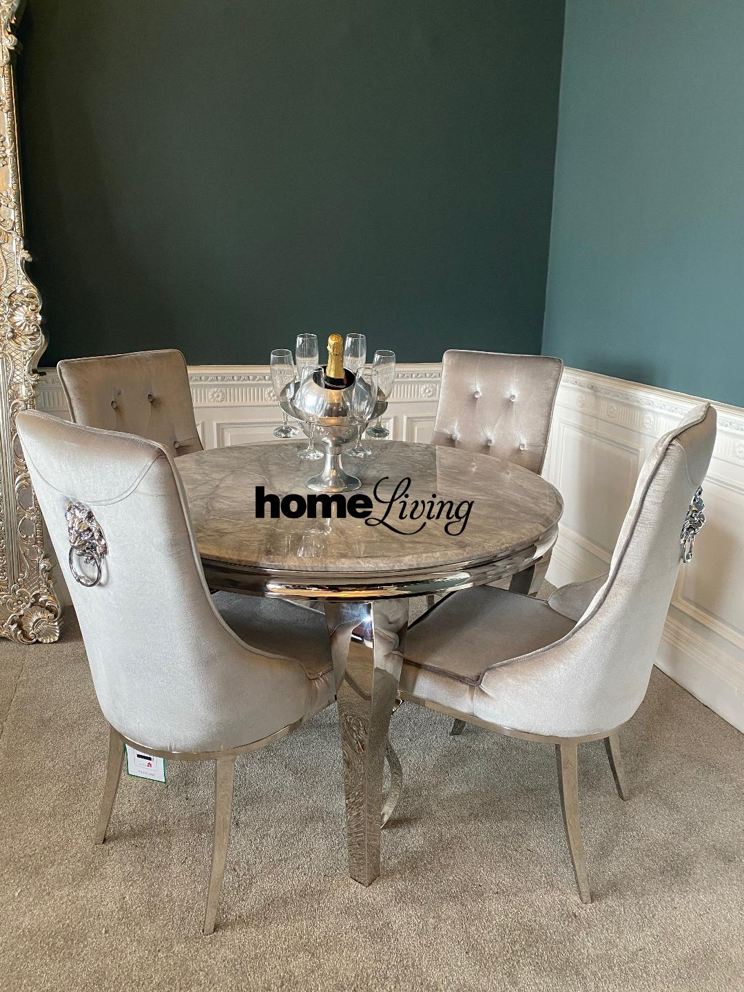 The Louis Grey Marble Table Set With 4 Louis Lion Knocker Chairs Home Living Furniture Online