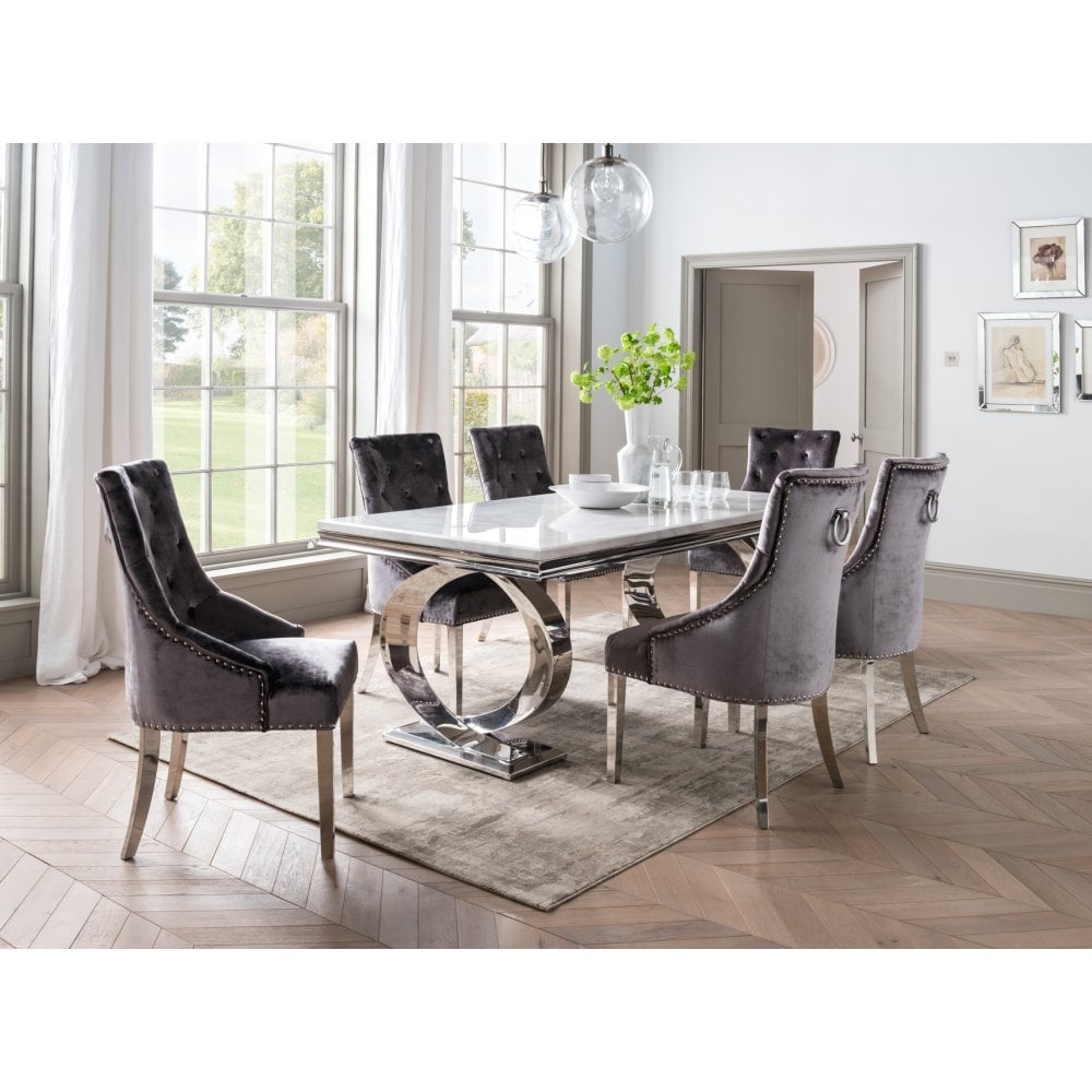 Selene Dining Table Set - With Bone White 2000 And 6 ...